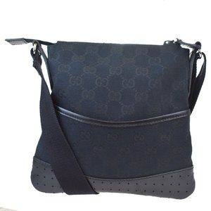 GUCCI GG Pattern Crossbody Shoulder Bag Canvas Lea